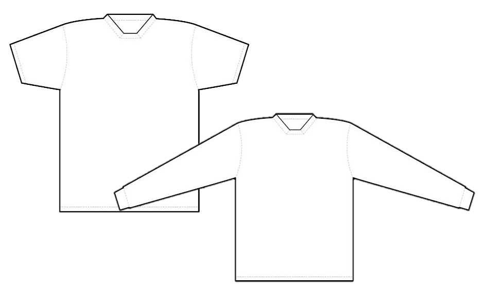 2954 square neck short sleeve jersey and long sleeve jersey